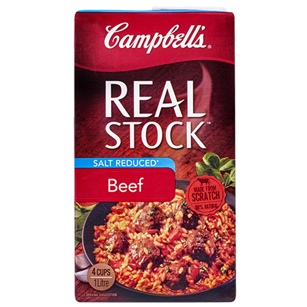Campbell's Real Stock Liquid Beef Salt Reduced carton 1l