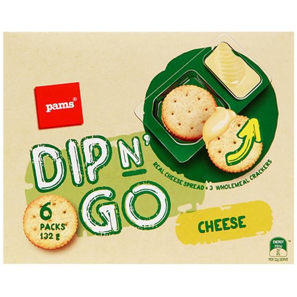 Pams Dip N Go Cheese Spread & Crackers 6pk