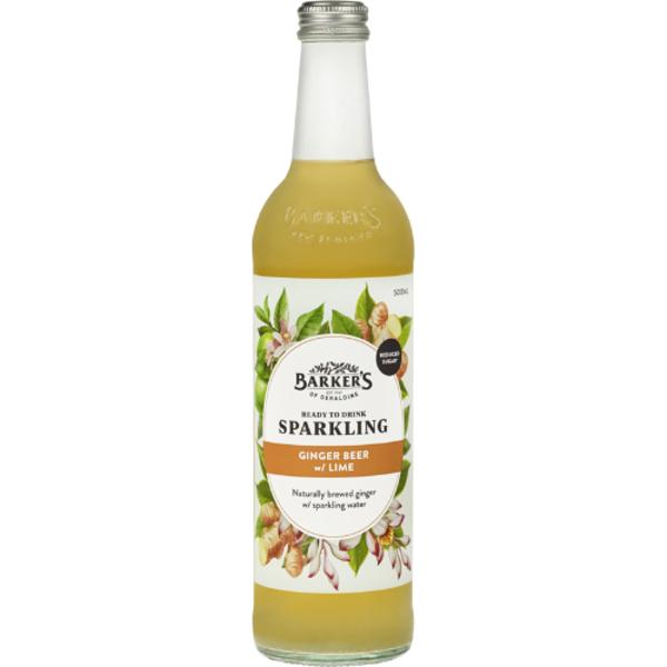 Barker's Ginger Beer With Lime Fruit Spritzer 500ml