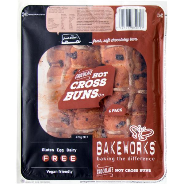Bakeworks Chocolate Hot Cross Buns 420g