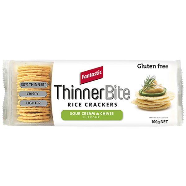 Fantastic Thinner Bite Sour Cream & Chives Rice Crackers 100g