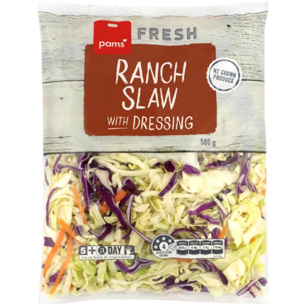 Pams Fresh Ranch Slaw With Dressing 500g