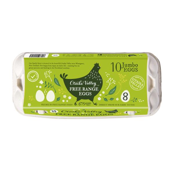 Otaika Valley Free Range Size 8 Eggs 10ea