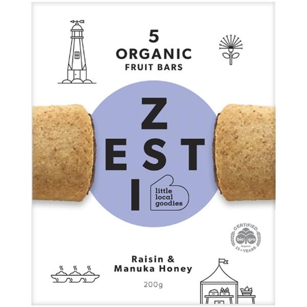 Zesti Raisin & Manuka Honey Organic Fruit Bars 5ea
