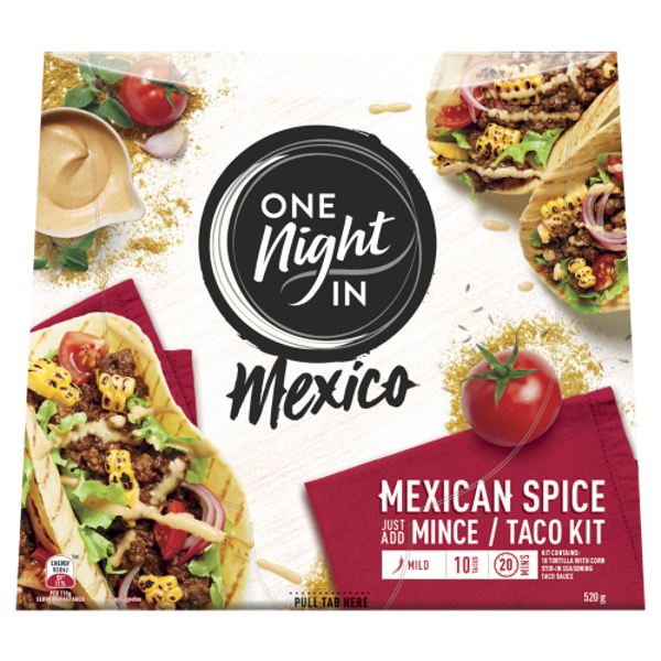 One Night In Mexico Mexican Spice Mince Taco Kit 520g