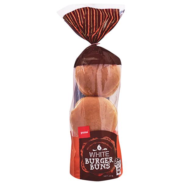 Pams Hamburger Buns White 6ea