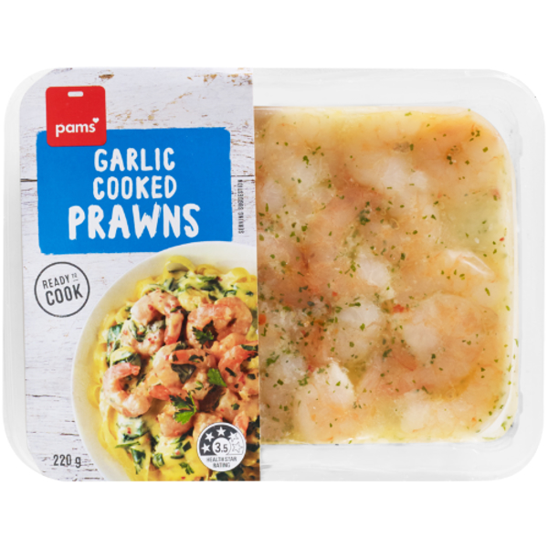 Pams Garlic Cooked Prawns 220g