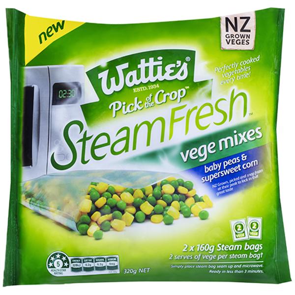 Wattie's Steam Fresh Vege Mixes Baby Peas & Corn 320g