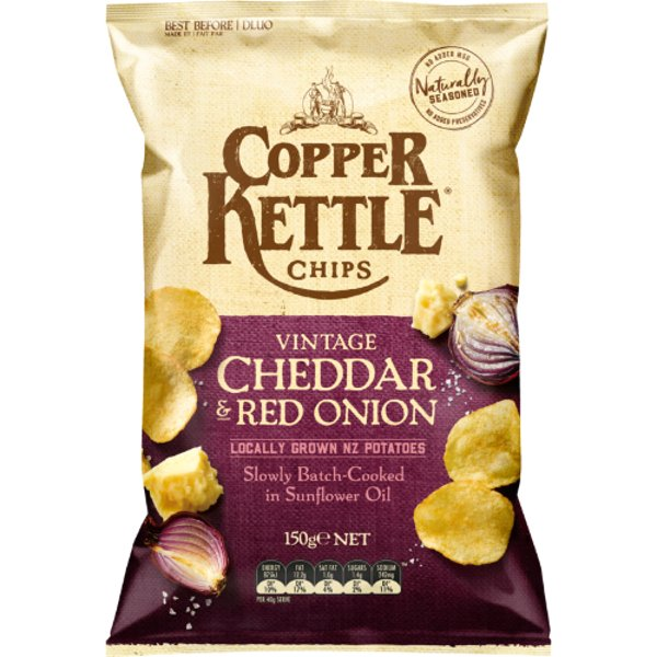 Copper Kettle Vintage Cheddar & Red Onion Potato Chips 150g
