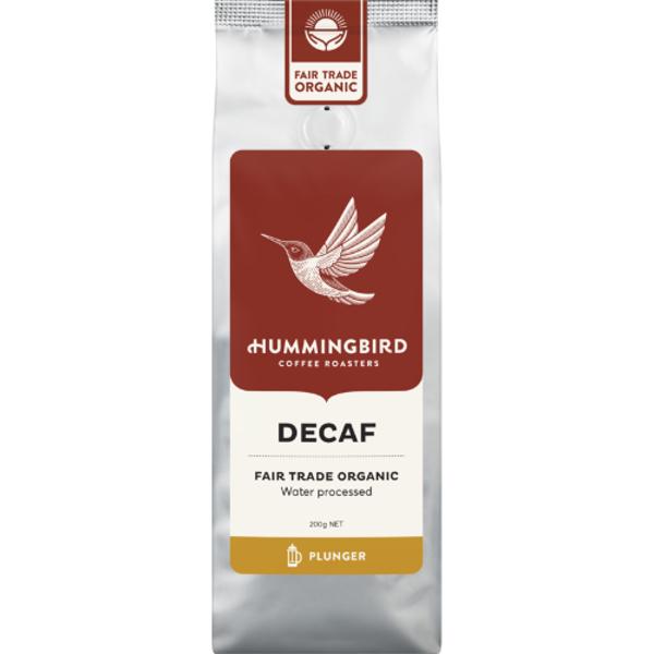 Hummingbird Decaf Fair Trade Organic Plunger Coffee 200g