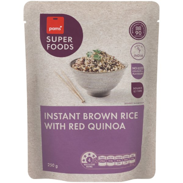 Pams Superfoods Instant Brown Rice With Red Quinoa 250g