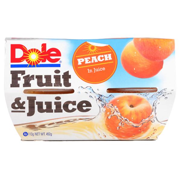 Dole Fruit & Juice Peach In Juice 4pk