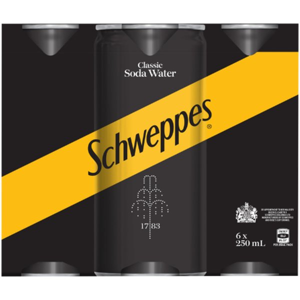 Schweppes Classic Soda Water Cans 6pk