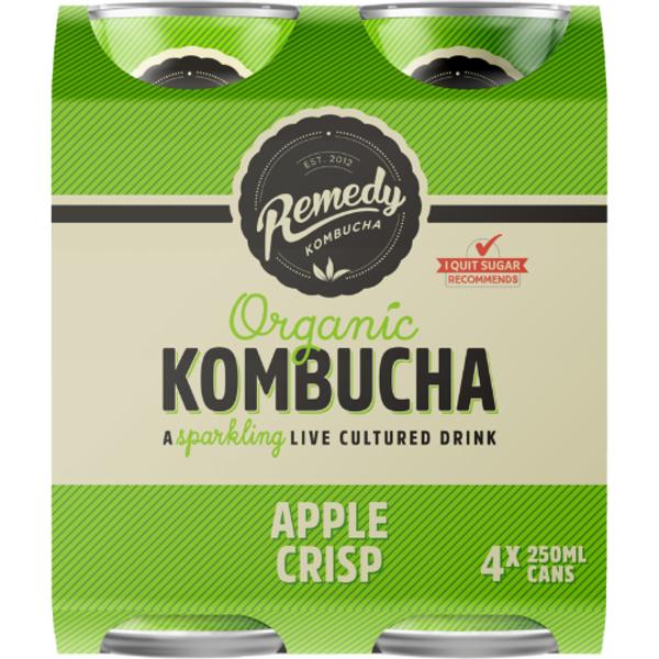 Remedy Apple Crisp Organic Kombucha 4 x 250ml