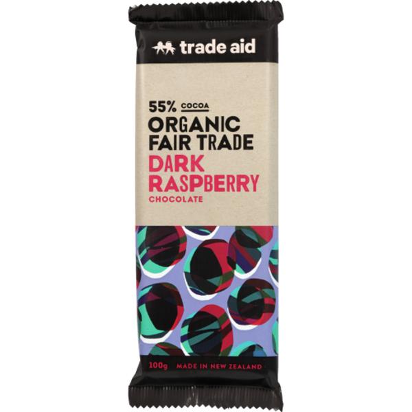 Trade Aid Organic 55% Dark Raspberry Chocolate 100g