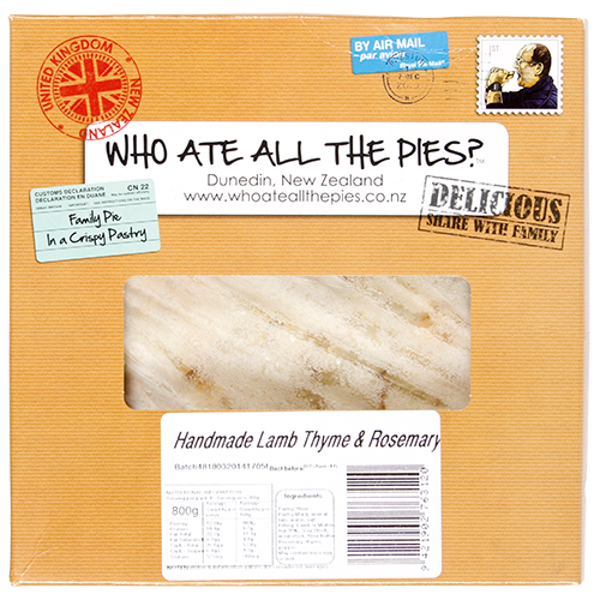 Who Ate All The Pies Handmade Lamb Thyme & Rosemary Family Pie 800g