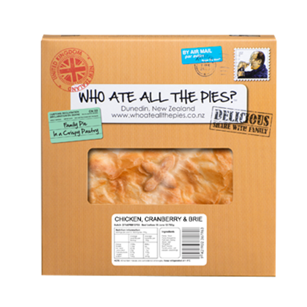 Who Ate All The Pies Chicken Cranberry & Brie Family Pie 800g
