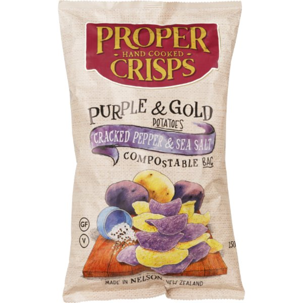 Proper Crisps Hand Cooked Cracked Pepper & Sea Salt Gold & Purple Potato Crisps 150g
