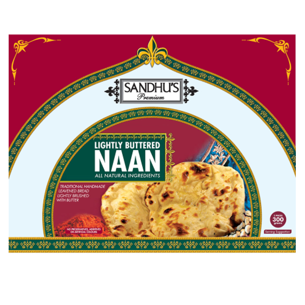 Sandhus Premium Lightly Buttered Naan 300g