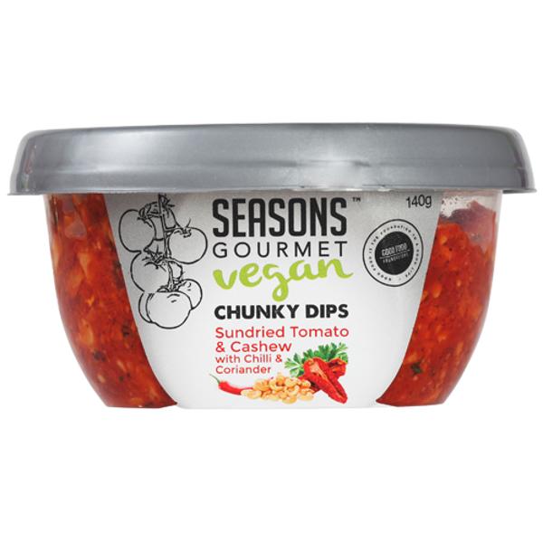 Seasons Sundried Tomato & Cashew with Chilli & Coriander Chunky Dip 140g