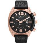 Diesel Mens Overflow Black Leather Quartz Watch