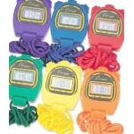 Champion Sports Water-Resistant Stopwatches, 1/100 Second, Assorted Colours, 6 Per Set