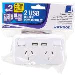 Jackson White PT9822 2 Outlet Powerpoint with 2x USB Charging Outlets - 2.1 Amp