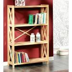 Natural Wood Bookshelf, 4-Tier Storage Unit WoodenShelf-4T-NW