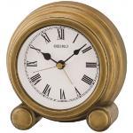 Seiko QXE052G Antique Finish Mantel Alarm Clock Gold QXE052G