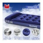 Bestway Single Inflatable Mattress Built-in Pillow Foot Pump