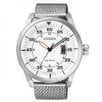 Citizen Mens Silver Stainless Steel Eco-Drive Date Watch AW1360-55A
