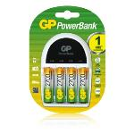 GP 1 Hour PowerBank PB14 Charger with 4pcs AA 2100mAh Rechargeable Batteries