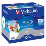 Verbatim BD-R 25GB 6X Wide White Inkjet 10pk 43713